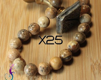 25 beads in natural beige Jasper 10mm