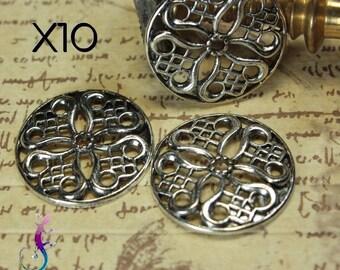 10 connectors medieval style antique silver metal