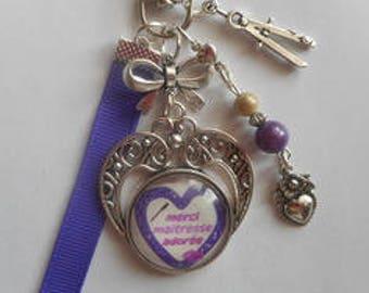 "Bag charm, door keys/teacher / ""Beloved teacher thank you"" / year end gift/party / thanks/Christmas/birthday"