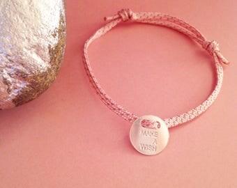 "Bracelet ""Make a wish"" on pink link and gold lurex"