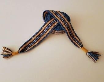 Hand woven belt, color orange, 74 inch long by 1.38 inch wool yarn