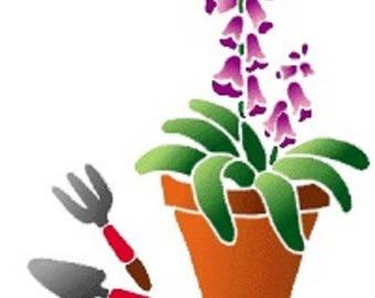 NEW STENCIL ROSE 17 * 12cm: flower pot
