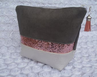 Case makeup silver faux leather, suede grey and pink sequins