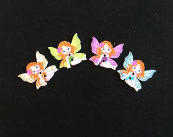 4 buttons 2 holes wooden Angels