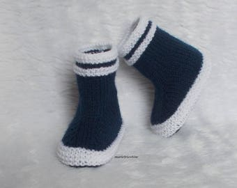 baby wool slippers boots 0/3 months handknit Navy white marietricotine