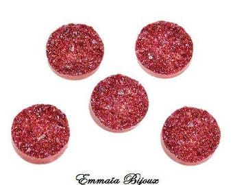 2 red glitter resin 18 mm cabochons