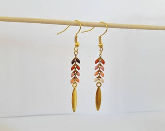 EARS: Spike and gold sequin chain earrings