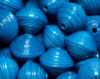 """Paper beads, handmade jewelry, Quilling, paper beads jewelry findings, colored beads blue beads Papier.Perles """"Teal""""."""