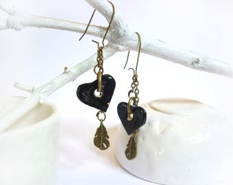 Earrings ceramic little black heart