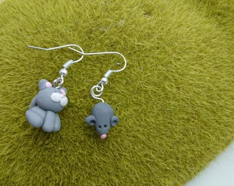 Cat/mouse grey polymer clay earrings