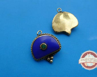 ethnic pendant gold blue and green half moon 20X23mm