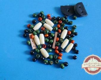 92 ethnic wooden beads green black orange beige bone and leather