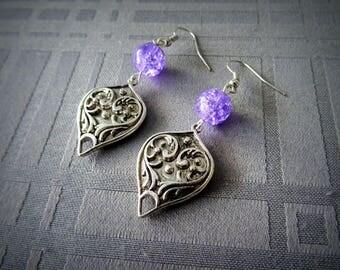 India, these handmade earrings, drop silver metal, purple bead