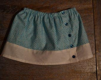 Gathered skirt two-tone blue and white girl