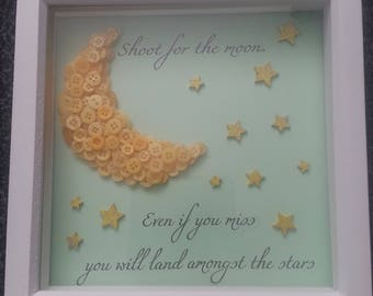 Shoot for the moon, Box frame, button art, moon, stars