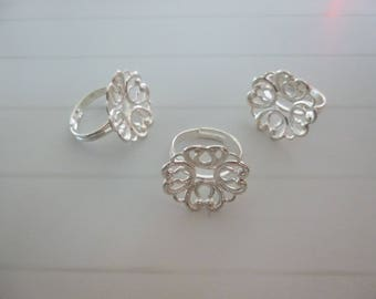 3 supports rings adjustable round filigree