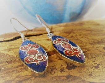 Ethnic earrings Blue Nepal