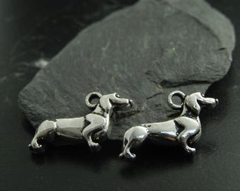 Silver metal 2 dog charms