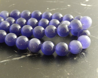 10 Blue 10mm cat eye beads