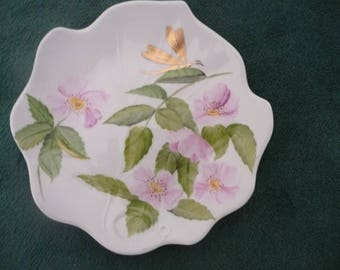 Plate Ivy: Wild Roses and gold dragonfly
