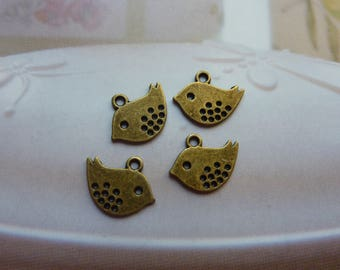 10 charms 12x10mm bronze birds sparrows *.