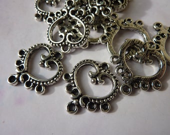 4 connectors silver metal heart of 5 holes 20x16mm