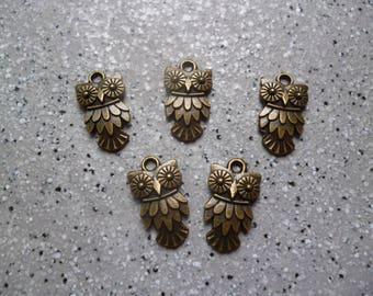 5 Jolies breloques chouettes en métal bronze 19 mm, accessoires bijoux
