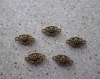 5 charms metal bronze 8 x 15 mm