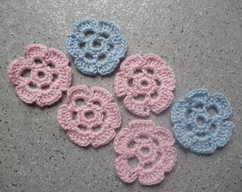 6 flowers crochet handmade cotton