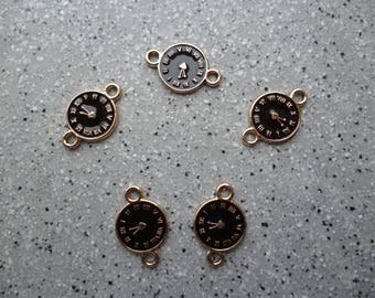 5 charm watches in gold metal and black 14 mm