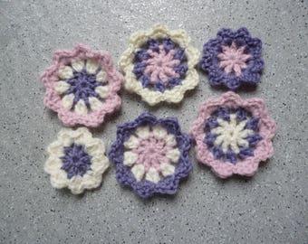 6 flowers crochet wool 5 cm