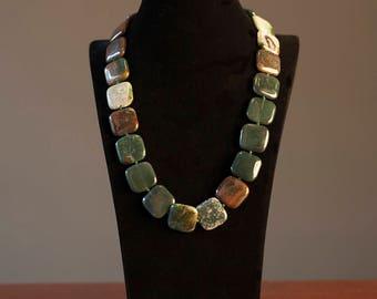 Green Yashma Squares Necklace