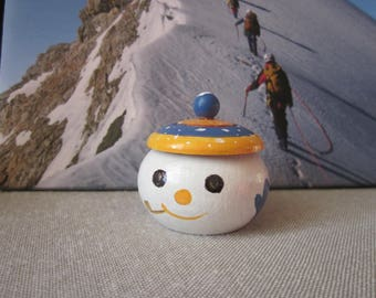 Snowman hand painted wooden tooth box