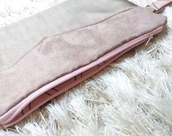 Women's faux leather pouch lined with cotton