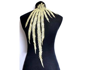 Large Peacock Applique lace 57 cm gold - black - white - for sewing / textile customisation - Ptach / animal theme - nature badge