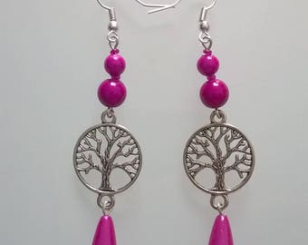 Earrings dangle tree of life fuchsia