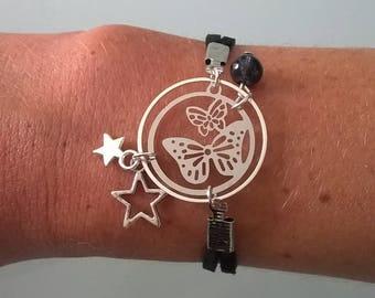 Set bracelet, necklace and black butterfly earrings