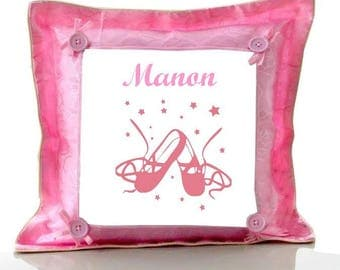 Pink ballet shoes custom cushion with name