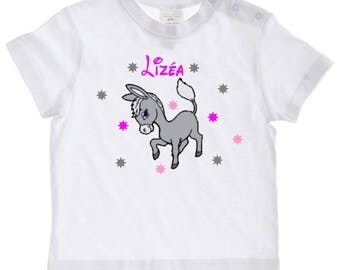baby donkey personalized with name t-shirt