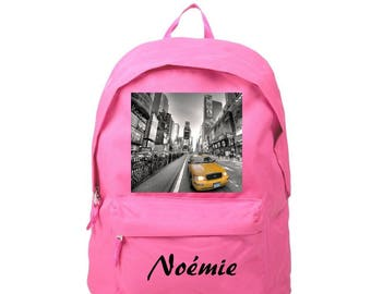 Backpack pink New york personalized with name