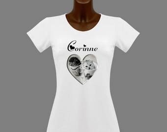 Women's White kittens t-shirt personalized with name