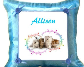 Kittens blue pillow personalized with name