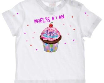 tee shirt baby birthday cake age choice personalized with name