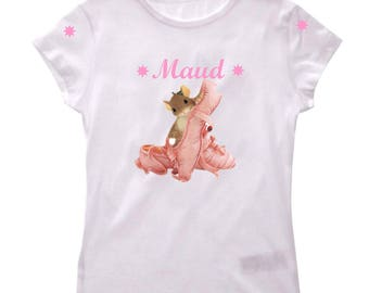 T-shirt girls ballet shoes personalized with name