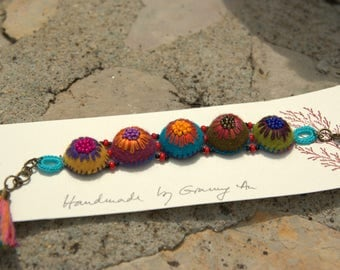 Colorful felt and embroidered wool (# 4) bracelet