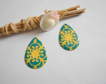 lot 2 drops enameled yellow and turquoise 30 x 20 mm