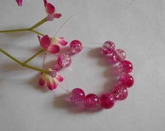 set of 10 beads cracked pink