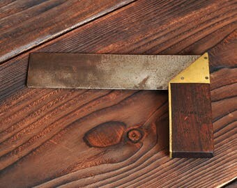 Victorian Wood & Brass Set Square T.SMITH of 1800s