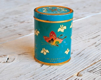 Beautiful China Tin Box with Butterfly from 60s