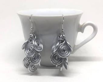 Hammered Aluminum cluster Earrings